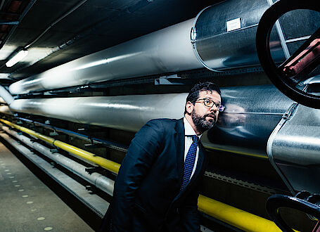 Antonio Esposito, Paul Wurth Italia S.p.A., inspects the pipes of an engineering plant
