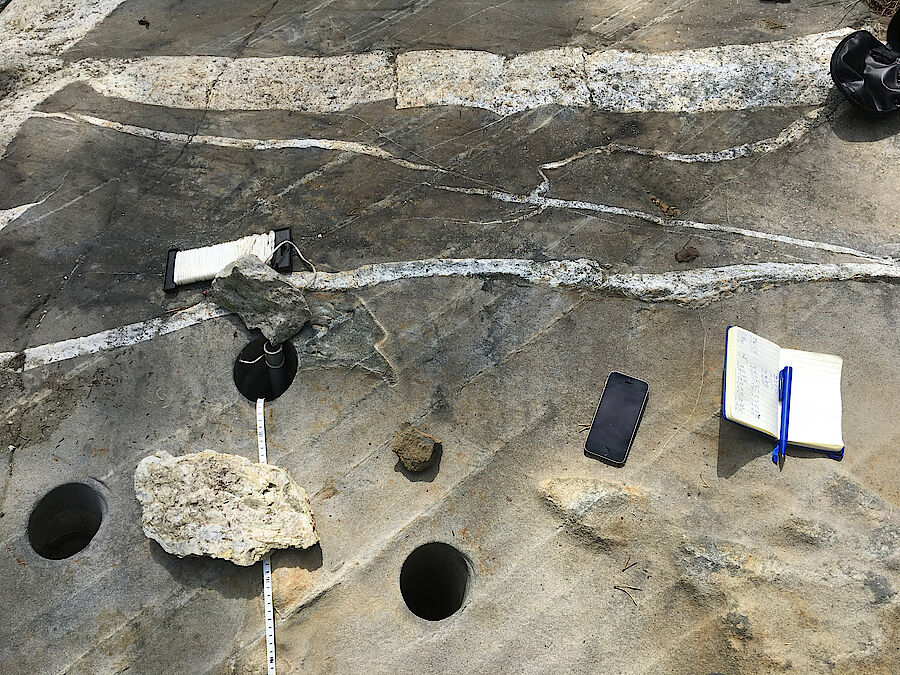 Boreholes for the determination of lithium content (Foto: Rock Tech Lithium)